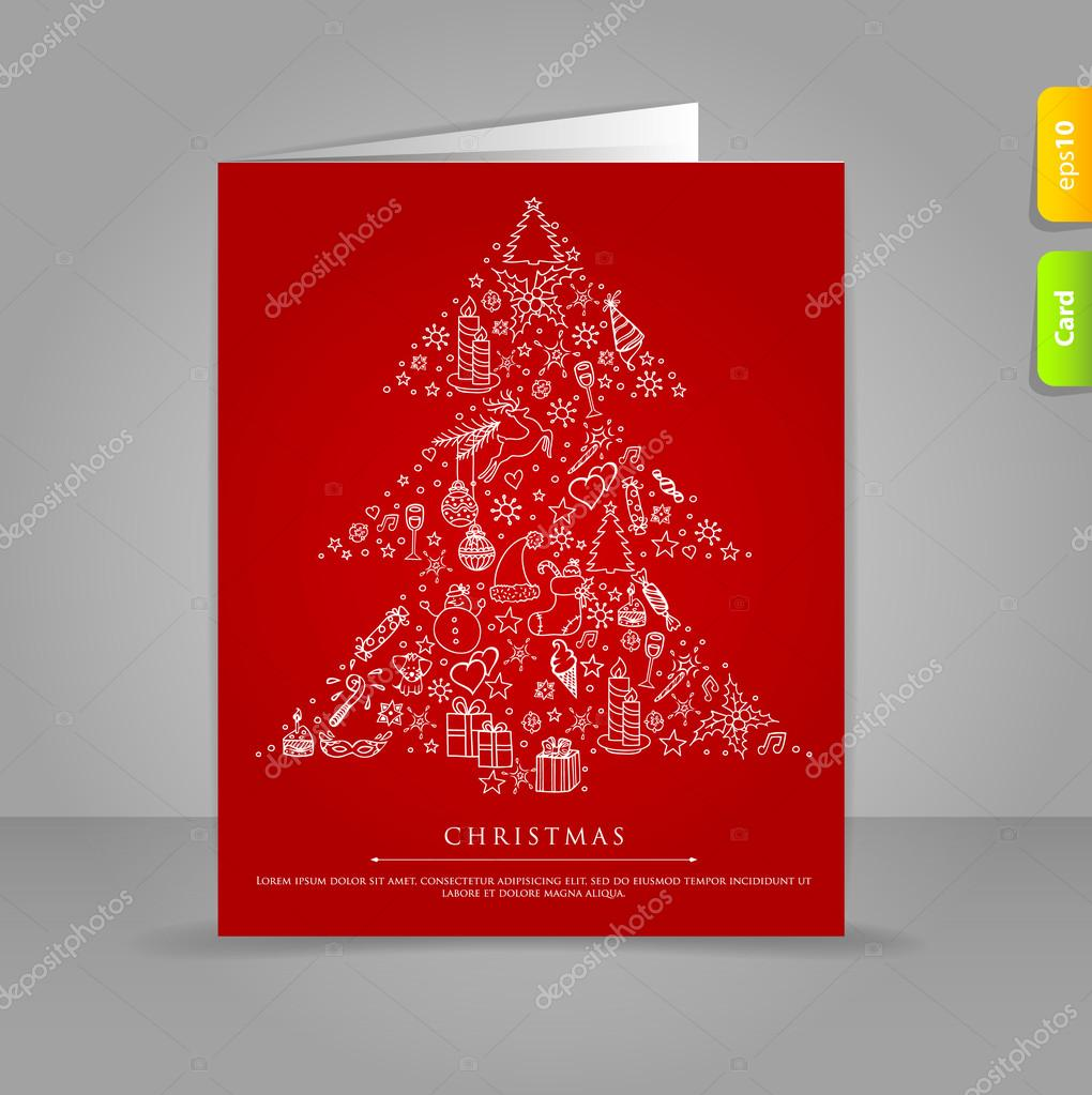 Vector illustration of Gift card with Stylized xmas tree on red back — Stock Vector #14712229