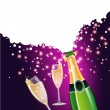 Vector de stock : Champagne bottle and glass