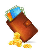 Wallet with banknotes — Stock Vector