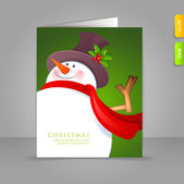 Christmas Snowman with red scarf — Stock Vector