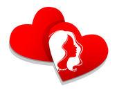 Kalp ile solhouette koymak — Stok Vektör