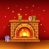 Fireplace with candles and gifts on red background — Stock Vector