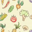 Doodle color vegetables seamless pattern — Stock Vector #27782867