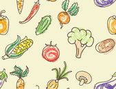 Doodle color vegetables seamless pattern — Stock Vector