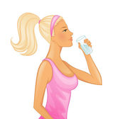 Young woman drinking water — Stock Vector