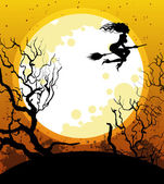 Halloween background with witch — Stock Vector