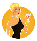 Beautiful woman with cocktail — Stock Vector