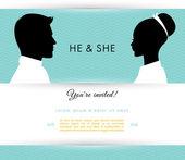 Él y ella — Vector de stock
