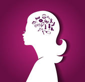 Woman head with icons — Stock Vector