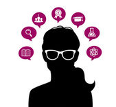 Woman's head with education icons — Stock Vector