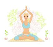 Beautiful woman doing youga exercises — Stock Vector