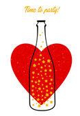 ボトルと心 — ストックベクタ