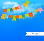 Blue sky with colorful flags — Stock Vector