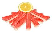 Seafood Sticks And Lemon — Stock Photo