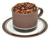 Granos de café tostados en taza — Foto de Stock