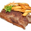 Stock Photo: Sirloin Steak And Chips