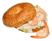 Prawn Bagel Sandwich — Stock Photo