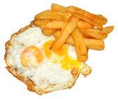 煎的鸡蛋和炸土豆条 — 图库照片