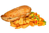 Pasty And Chips Meal — Stock Photo