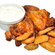 Cooked Chicken Wings And Potato Wedges — Stock Photo