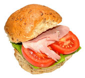 Ham And Salad Sandwich Roll — Stock Photo