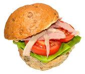 Ham And Salad Sandwich Roll — Stock Photo