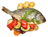 Baked Fish And Roasted Vegetables — Foto de Stock
