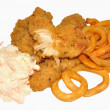 Southern Fried Chicken And Curly Fries — Stock Photo #42645167