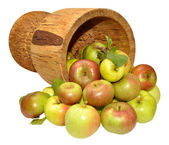 Fresh Apples And Wooden Cup — Stock Photo