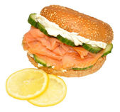 Fresh Smoked Salmon And Cream Cheese Bagel Sandwich — Stock Photo