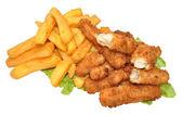 Goujons balık ve cips — Stok fotoğraf