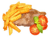 Steak And Chips With Grilled Tomatoes — ストック写真