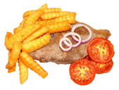 Steak And Chips With Grilled Tomatoes — Stock Photo