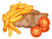 Steak And Chips With Grilled Tomatoes — Zdjęcie stockowe