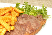 Grilled Steak And Chips — Stock Photo