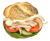 Kip en salade sandwich roll — Stockfoto