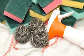 Sponge And Metal Cleaning Scourers — Stock Photo