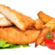 Breaded Chicken Breast Fillets And Potato Wedges — Stock Photo #50969485