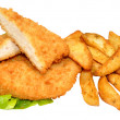 Breaded Chicken Breast Fillets And Potato Wedges — Stock Photo #50969507