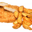 Breaded Chicken Breast Fillets And Potato Wedges — Stock Photo #50969511