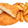 Breaded Chicken Breast Fillets And Potato Wedges — Stock Photo #50969515