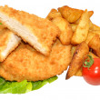 Breaded Chicken Breast Fillets And Potato Wedges — Stock Photo #50969533