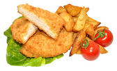 Breaded Chicken Breast Fillets And Potato Wedges — Stock Photo