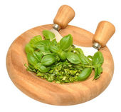 Basil Herb leaves On Chopping Board — Stock Photo