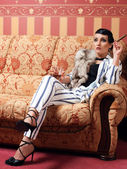 The woman in strict clothes in a retro style the tritsatykh of years. — Stock Photo