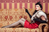 The woman in strict clothes in a retro style 30-th — Stock Photo