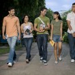 College students walking together — Stock Photo