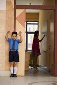 Punished school boy — Stock Photo