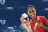 Woman playing golf — Foto Stock