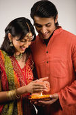 Couple celebrating Diwali — Stock Photo